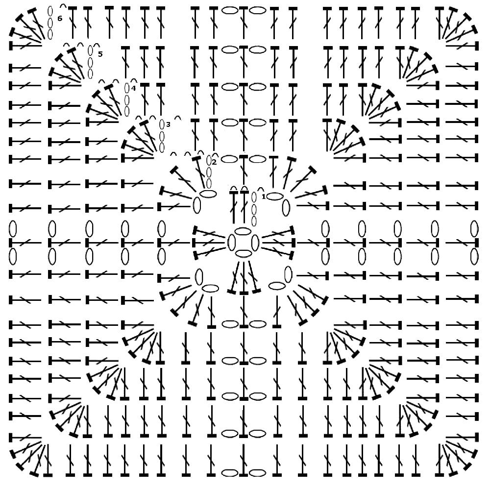 Вязание по схеме крючком круг 313