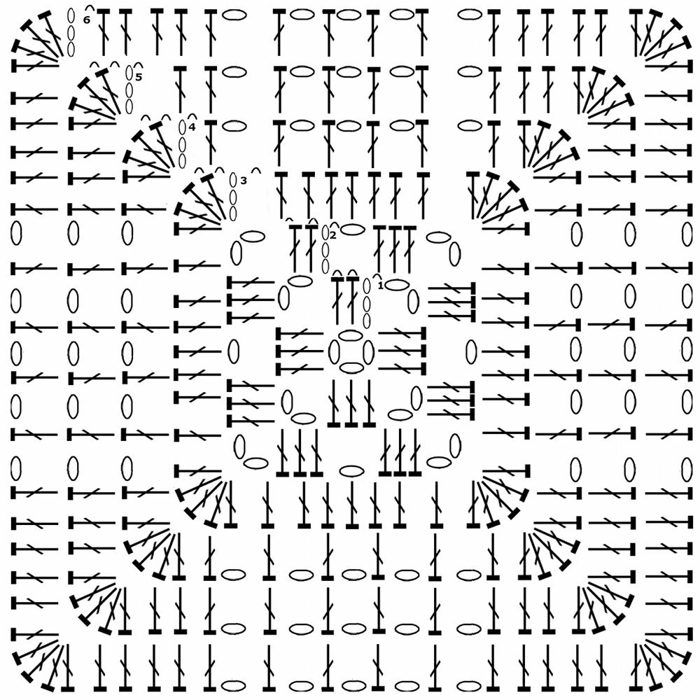 Вязание крючком квадрат простой схема 22