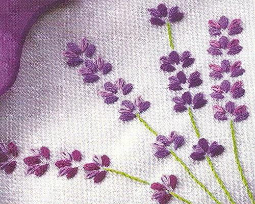 Вышейте цветки лаванды гладью