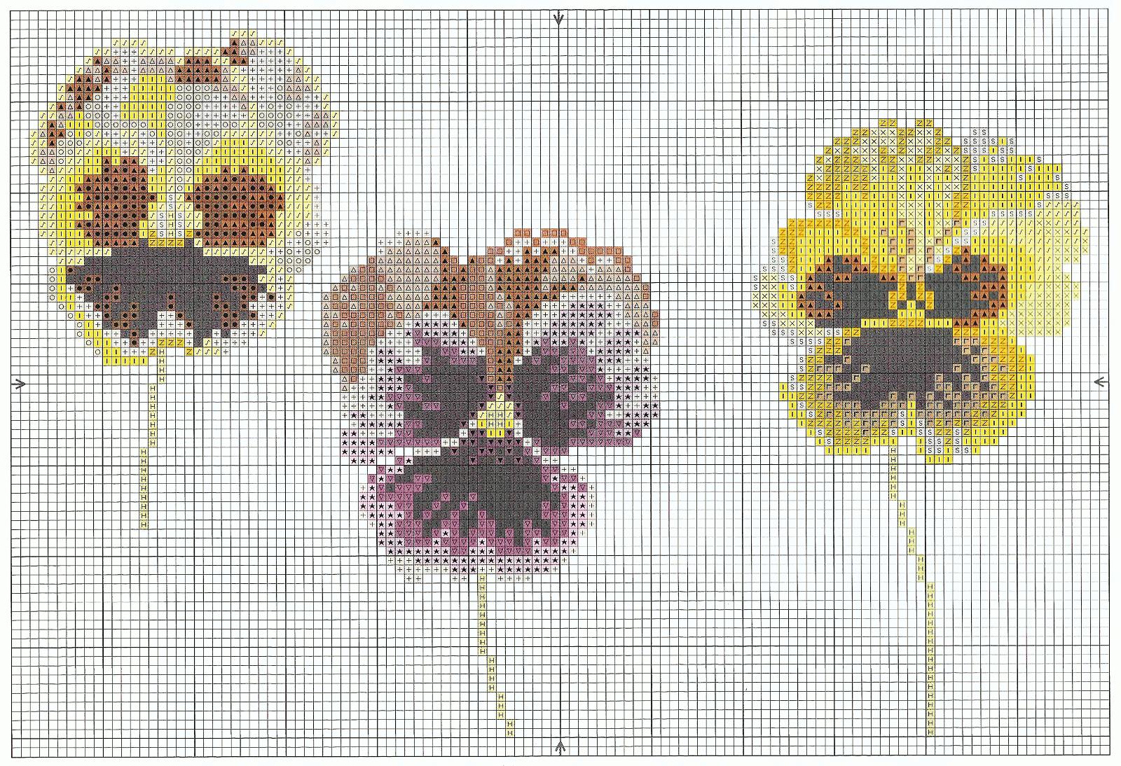 Выразительная схема вышивки Анютины глазки