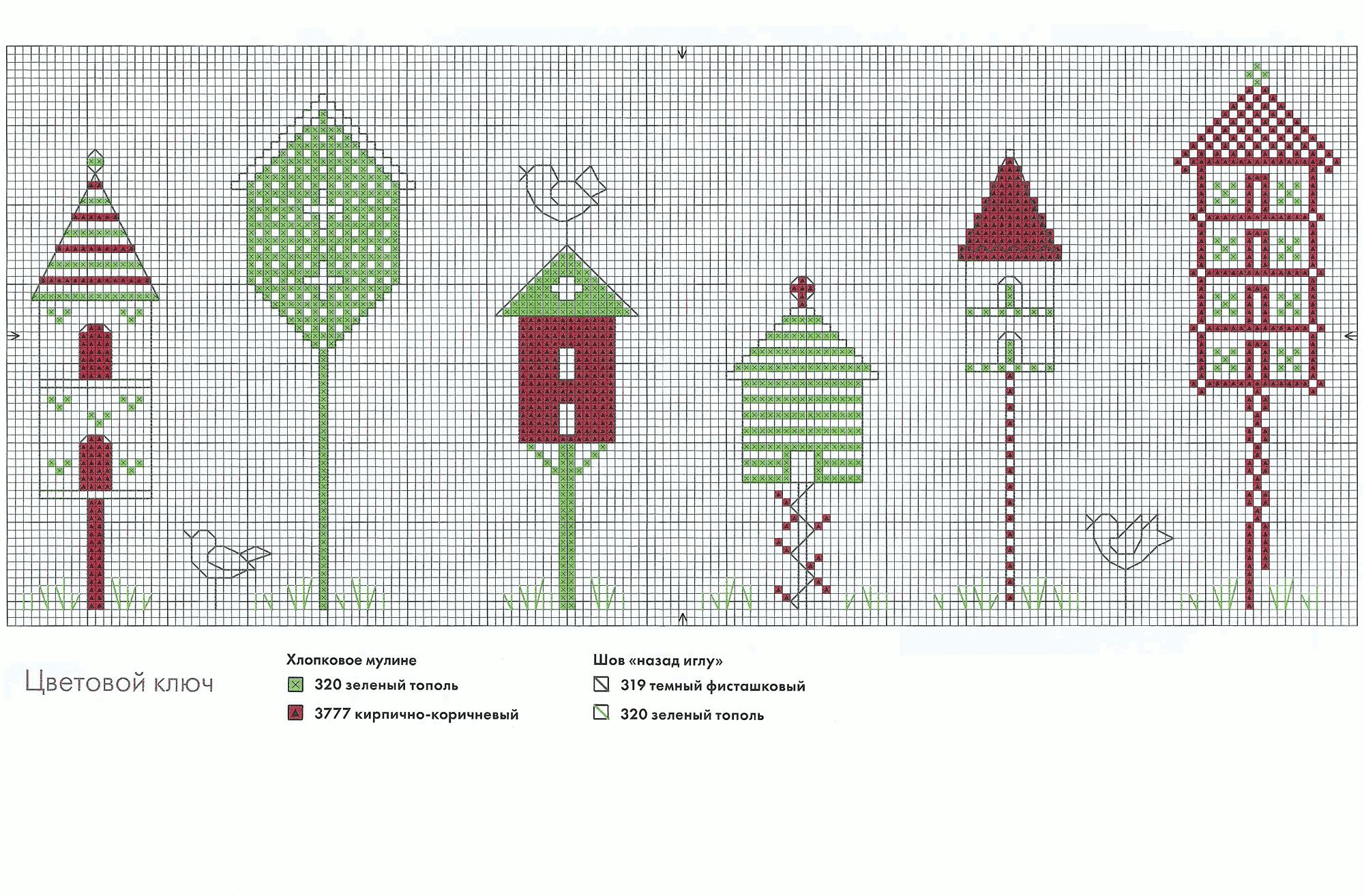 схема вышивки домик