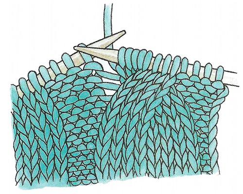 Вязание спицами жгут из двух петель